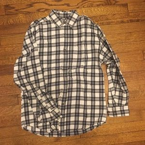 Grey and white plaid flannel button up